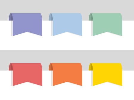 Six labels in rainbow colors, flat vector illustration