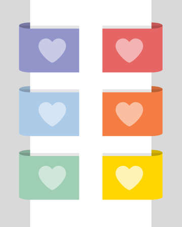 Color labels with the heart, flat vector illustration Illustration