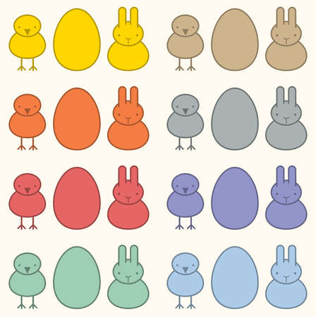 Seamless Easter background in pastel colors, bunny, chicken and egg, vector illustration Vector