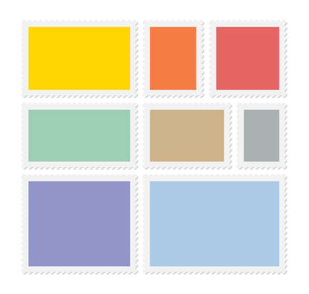 Eight colorful postage stamps, vector blank templates with place for your images and text Stock Illustratie