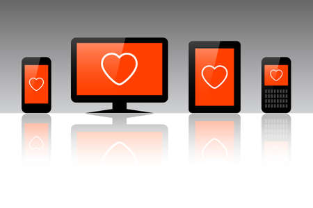 Heart symbol on a computer, tablet and phone, Valentine vector illustration Çizim