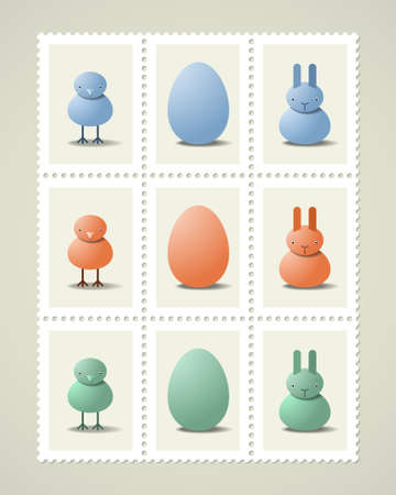 Postage stamps with Easter symbols, vector icons