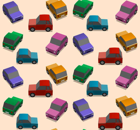 Seamless background with colorful cars on the basis of ocher, vector pattern Illustration