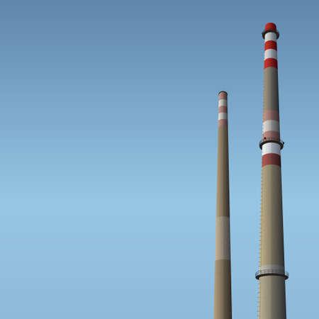 smoke stack: Due ciminiere e cielo blu, vettore sfondo industriale Vettoriali