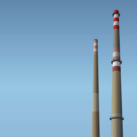 Two smokestacks and blue sky, industrial vector background