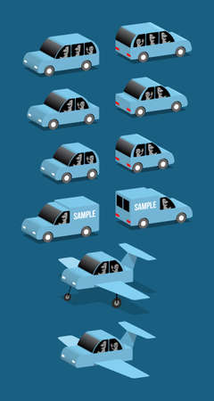 Four blue cars and airplane, vector cartoon illustration