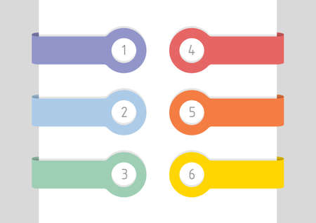 Six colorful labels with numbers and place for your text, flat vector illustration