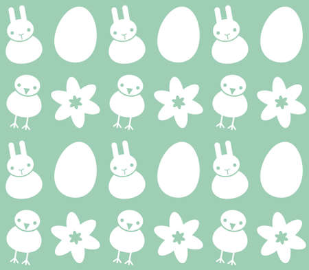 Vector seamless green background with Easter symbols - rabbit, chicken, egg and flower