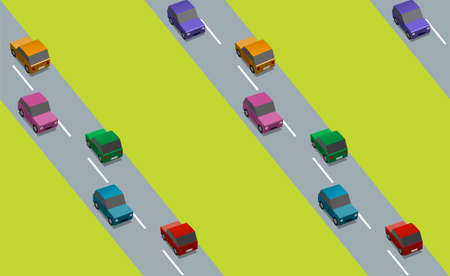 Seamless background with roads and colorful cars, vector illustration Illustration