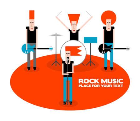 A four-member rock band, cartoon vector illustration