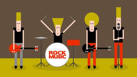 Four rock musicians, cartoon vector illustration