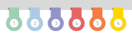 Six colorful labels with numbers, flat vector illustration