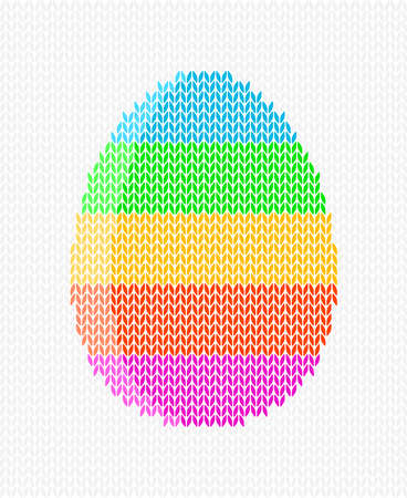 Knitted striped Easter egg on a light background, Easter greeting card, vector illustration