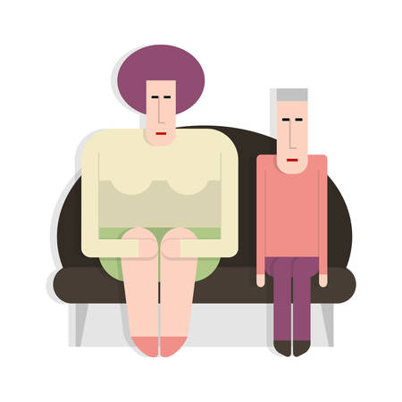 Man with a thick woman sitting on sofa, flat style,  cartoon illustration