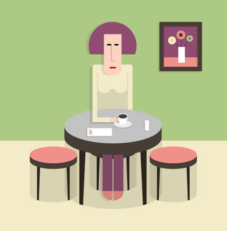 Woman sitting at a table and drinking coffee, rest in cafe, flat style, cartoon  illustration