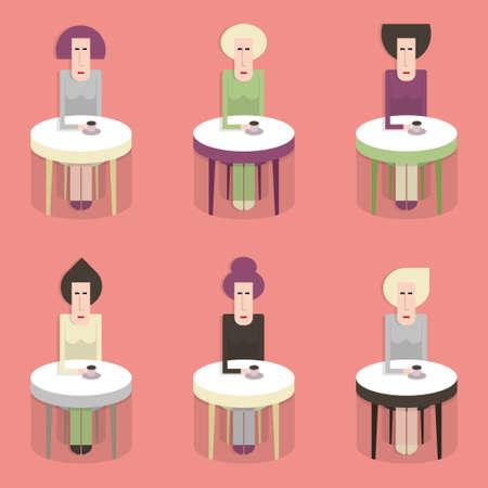 cappucino: Cafe, zes vrouwen zittend aan tafel met koffie, vlakke stijl, cartoon, semless patroon