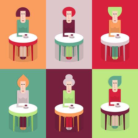 cappucino: Cafe, zes vrouwen aan een tafel met koffie, verschillende kleurencombinaties, vlakke stijl, cartoon vector illustratie, semless patroon Stock Illustratie