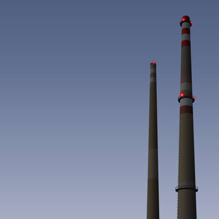 smoke stack: Two smokestacks at dusk with lights, nightfall, industrial  Illustration