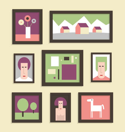 Gallery of pictures, eight pictures in frames on the wall, flat  illustration Illustration