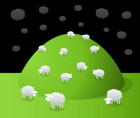 graze: Hill on which sheep graze,  cartoon illustration Illustration