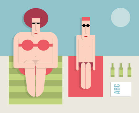 Man with a fat woman on the beach, flat style, cartoon illustration