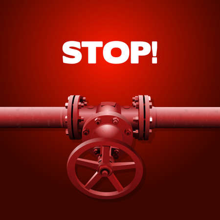 tinting: Old valve on the pipe, industry illustration, red tinting