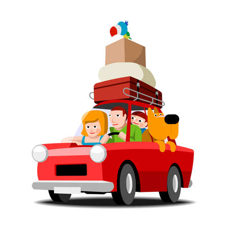 The family goes on holiday red car, family with pets Vector