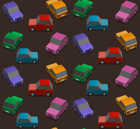 Dark background with cars in a rainbow of colors Vector