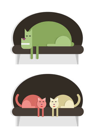 Resting pets, dog and two cats on the sofa, set of two images Vector