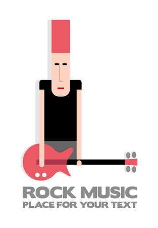 rock guitarist: Rock guitarist with red guitar and red hair Illustration