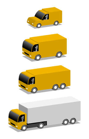Orange van and trucks, vector cartoon 3d illustration with place for your text
