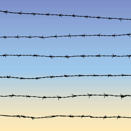 Silhouette of barbed wire with sky, six parts of barbed wire Stock Illustratie