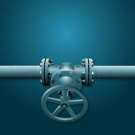 Old valve on the pipe, industry illustration with place for your text, blue tinting Illustration