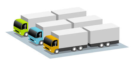 Parking with three trucks with trailers, cartoon 3d illustration with place for your text
