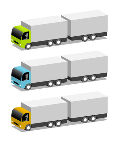 Three trucks with trailers in different colors Illustration