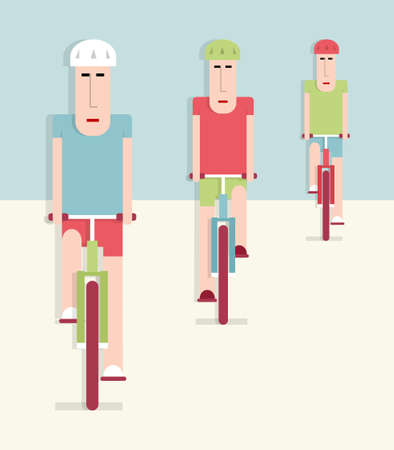 Cyclists, three people on bicycles, vector cartoon illustration, flat style