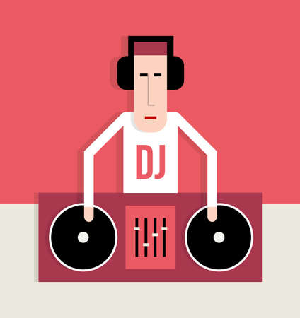 gente bailando: Actuaciones de DJ en las placas giratorias, música de baile, imagen de estilo plano, ilustración de dibujos animados de vectores Vectores