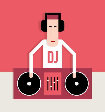 persone che ballano: Performance DJ sul giradischi, musica da ballo, immagine stile piatto, cartoon illustrazione vettoriale Vettoriali