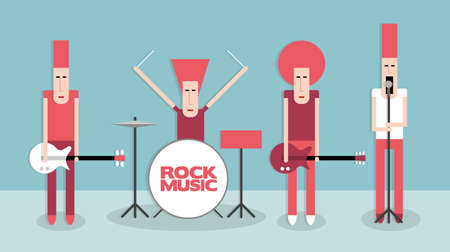 famous star: Four rock musicians, rock band, cartoon vector illustration on blue background, flat style