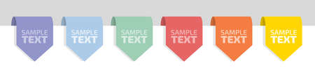 Six labels in a rainbow of colors with place for your text, flat vector illustration