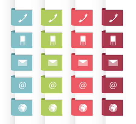 adress: Set of labels with contact symbols in pastel colors, vector illustration, flat style Illustration
