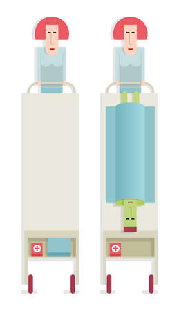 hospital cartoon: Infermiere paziente superi, in ospedale, illustrazione vettoriale cartoon su sfondo bianco, stile piatto Vettoriali