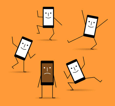 Happy charged phones and discharged sad phone, cartoon vector illustration on orange background