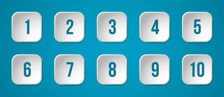 White buttons with numbers on a blue background, vector design elements Vector