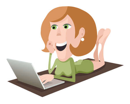 Blond woman with computer, lying woman with laptop, vector cartoon illustration on white background
