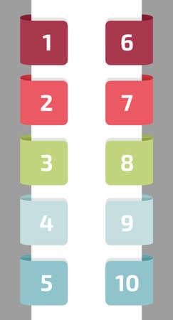 numero diez: Diez etiquetas de colores con n�meros, ilustraci�n vectorial plana