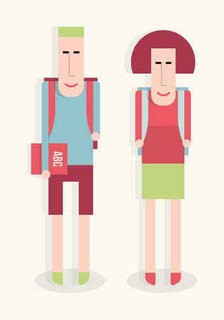 Boy and girl go to school, back to school, vector flat cartoon illustration Illustration