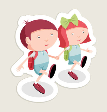 Back to school sticker, boy and girl go to school, vector cartoon illustration Vector