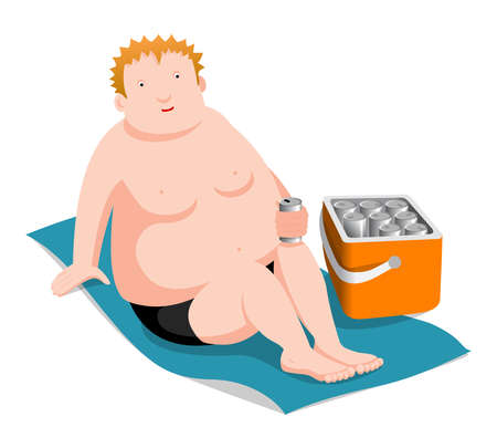 nude man: Fat man with beer and a cool box for the beach, vector cartoon illustration on white background Illustration