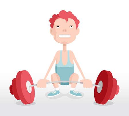 El levantador de pesas, el hombre con mancuerna, ilustración de dibujos animados de vectores
